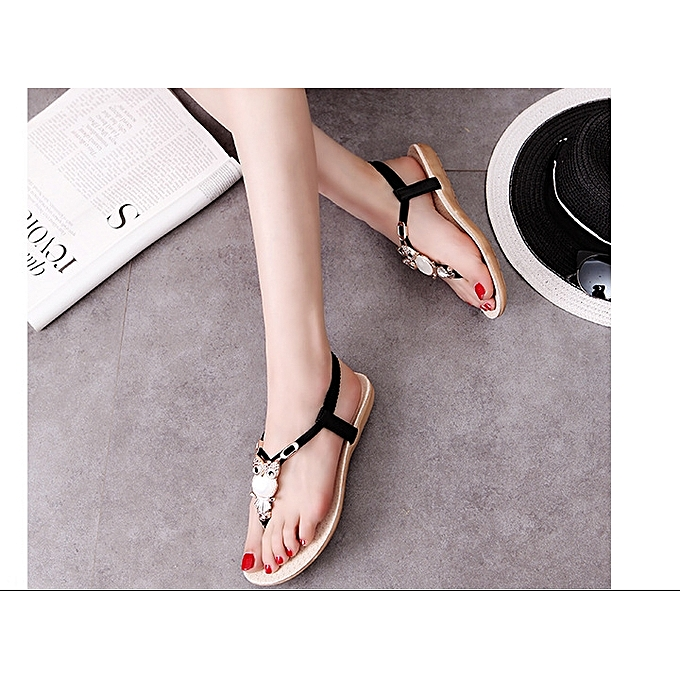 9c76afc19 Fashion Lovely Women Sandals Flat Female Ladies Casual Shoes -black ...