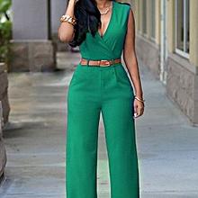 c12ac4e9baa Women Sleeveless V-Neck High Waist Jumpsuit With Belt-Green