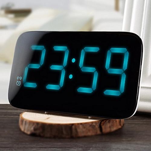 Digital LED Alarm Clock With Voice Control, LED Display - Black