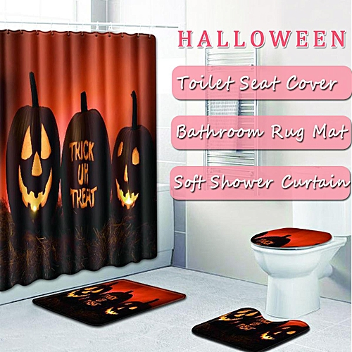 4X Halloween Pumpkin Bathroom Non-Slip Rug Mat +Toilet Cover+Shower Curtain Set
