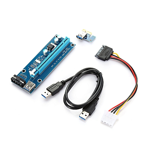 PCI-E 1X To 16X Riser Card + USB 3.0 Extender Cable For Bitcoin Litecoin Miner - Black + Blue