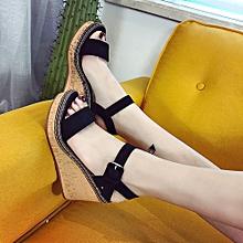 Hiaojbk Store Women Fish Mouth Platform High Heels Wedge Sandals Buckle  Slope Sandals-Black 3eaa5ac10130