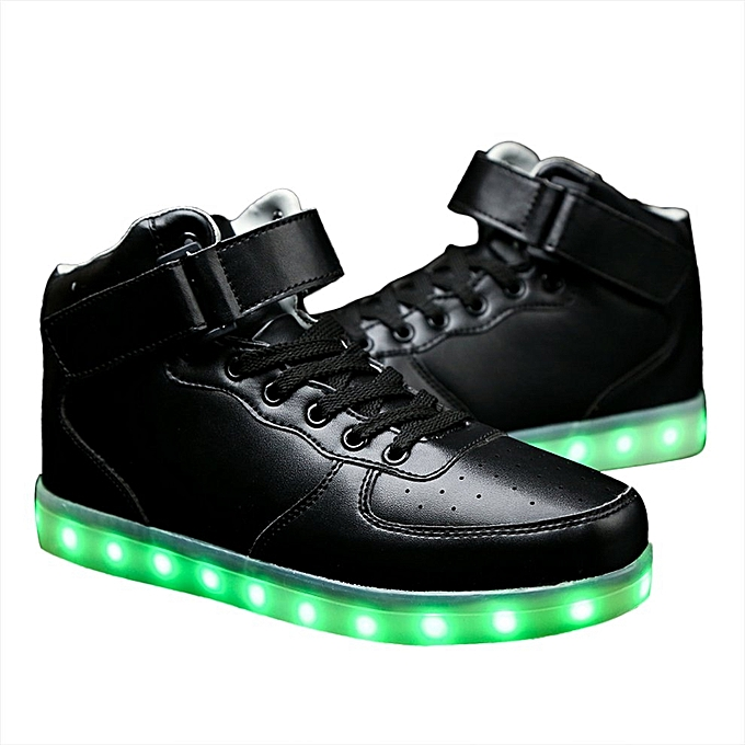 Men LED Lighting High Top Light Up Shoes Flashing USB Charging Lace-up Shoes 2caa989730e9