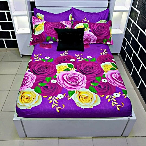 Classic Flower Design Bedspread With 4 Pillow Case