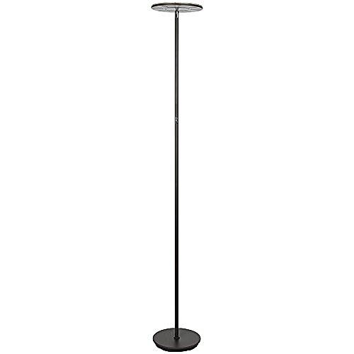 Modern LED Torchiere Floor Lamp For Living Rooms & Bedrooms - Adjustable Warm To Cool White - Tall Pole, Standing Office Light - Bright, Minimalist & Contemporary Uplight - Black