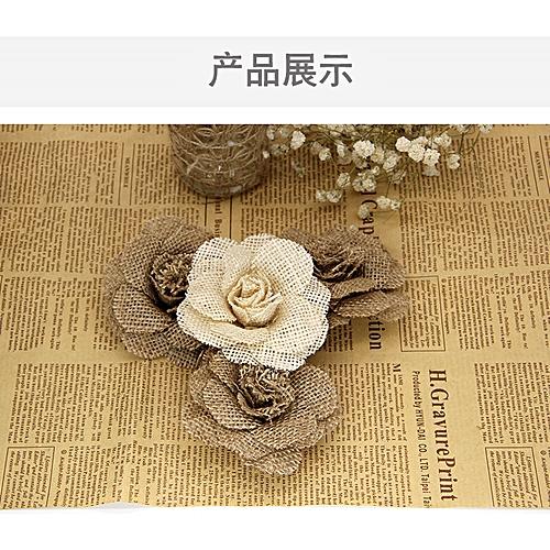 20 Tablets Natural Vintage Burlap Rose Flowers DIY Craft