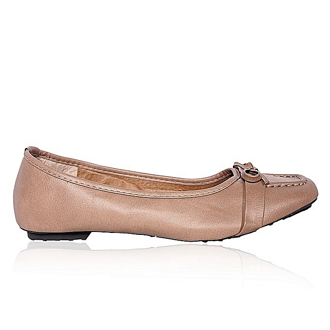 61db0da1424a Sparkles Ladies Leather Flat Shoe With Tie - Nude