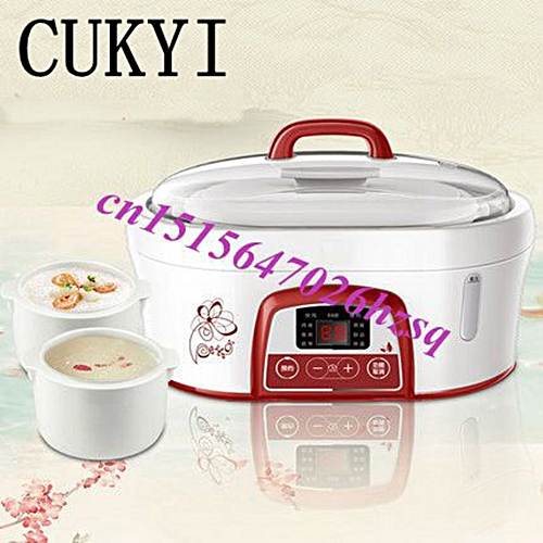 CUKYI Water-resisting Ceramic Electric Cookers White Porcelain Nest Slow Cooker Soup Baby Slow Porridge Pot Available For 1-3