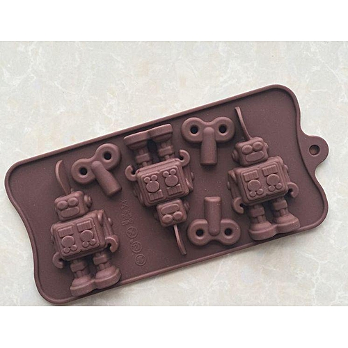 Fun Robot Key Silicone Cake Mould Baking Chocolate Ice Cube Tray Soap Icing Top