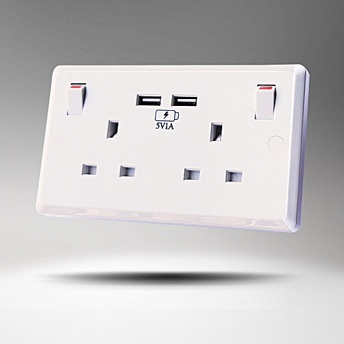 Mutifunction 2-Port USB Wall Socket Charger AC Power Receptacle Plate Adapter
