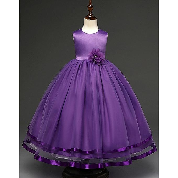 450f7d1b7e5fb Fashion Flower Girl Dress Girl Baby Girl Wedding Veil Dresses Kids's Party  Wear Costume Children Clothing-purple