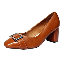 17725030d Ladies Patent Corporate And Casual Heels Shoes -Brown