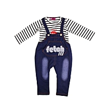 bdb51f2274 New Arrival Jean Trouser And Stripe Polo Long Sleeve Shirts For Kids - Blue  And White