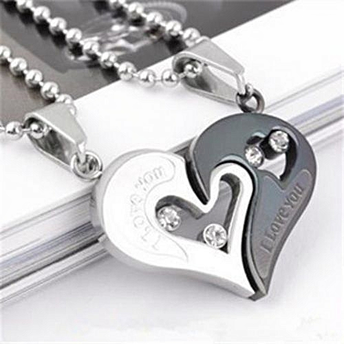 Couple Necklace Heart Studded Pendant - Silver & Grey
