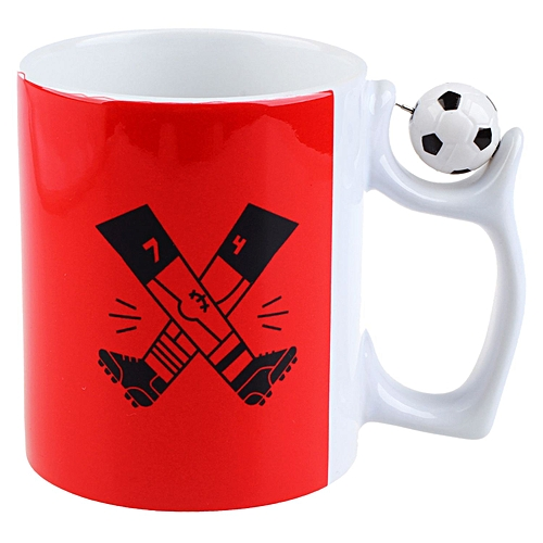 World Cup Football Creative Tea Milk Cup, Ceramic Coffee Cup Breakfast Cup-red