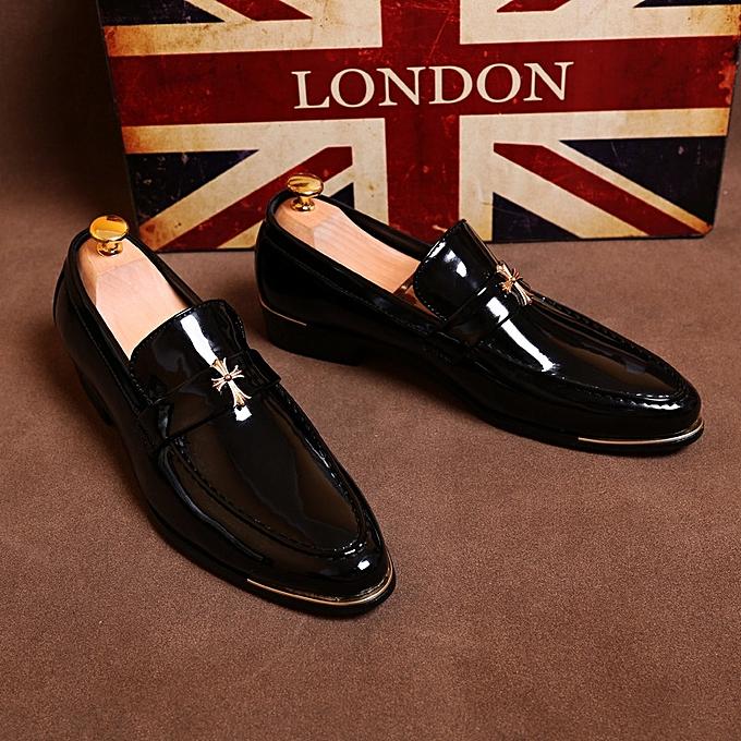 Mens Wedding Shoes.Men Genuine Leather Black Shoes Men Wedding Oxford Business Dress Shoes Black