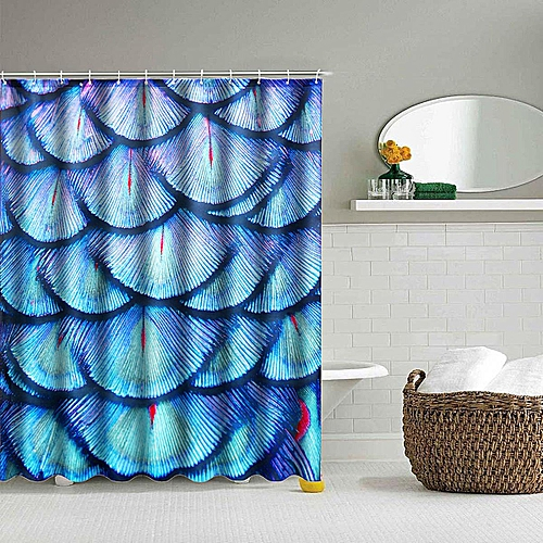71'' Waterproof Feather Bathroom Printed Shower Curtain Polyester With 12 Hooks