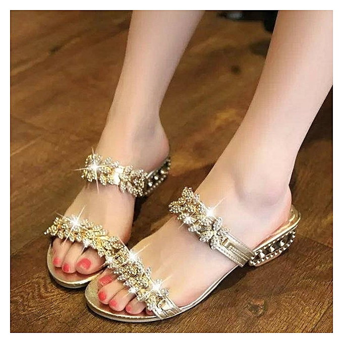 Rhinestone Gold Sandals Shoes Women Female Flat Open Toe Party Sandals High  Heels Lady Shoes Slippers cf0e6c7d019c