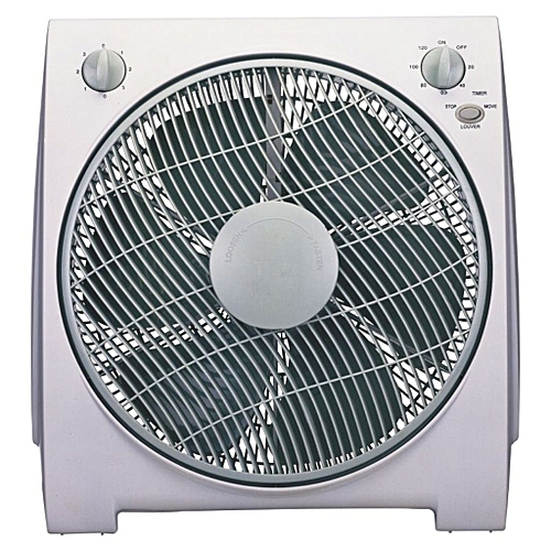 """12""""Box Fan BF-1477-white, With 80 Degree Oscillation"""