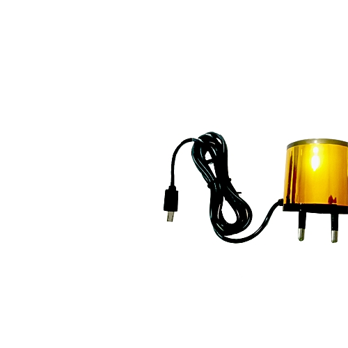 Gold And Black Fast Travel Charger With Extra USB Cable