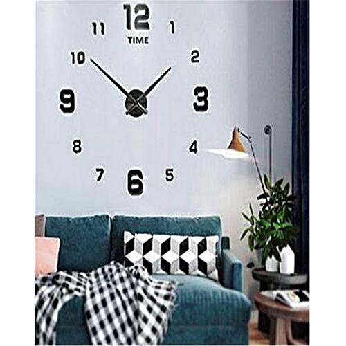 DIY Wall Clock Large 3D Wall Watch Mirror - Black