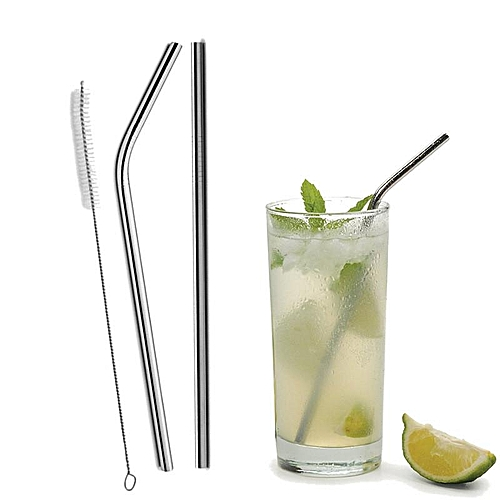Straight/ Bent Drinking Stainless Steel Straws For Yeti 30oz Tumbler With 1 Pc Cleaning Cleaner Brush
