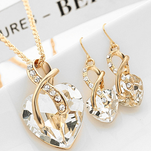 Ranicken 2017 Fashion Jewelry Sets For Women Crystal Heart Necklace EarringsWedding -as Shown
