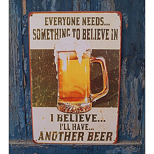 Cool Beer Poster Metal Plate Rusted Tin Sign Man Cave Home Pub Bar Wall Decor