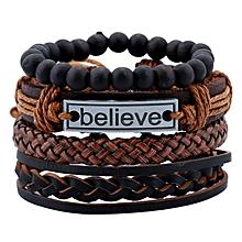 035eff8f9c Men's Bracelet Sets Vintage Woven Leather Jewelry