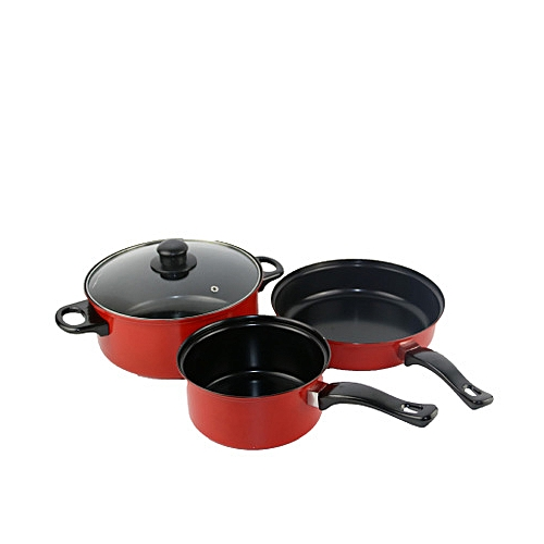 3PCs Non Stick Cookware Set With Cover