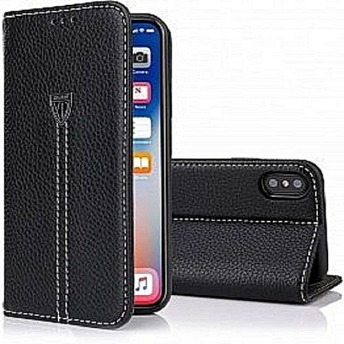 new style f20c2 24c32 IPhone X Case, Slim Flip Genuine Leather Protective Cover IPhone X Wallet  Case With Card Holder - Black