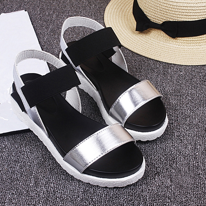 2c0a3f26f ... Fashion Sandals Women Aged Leather Flat Sandals Ladies Shoes Silver 36