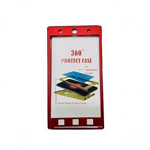 Tecno L8 PLUS (360 Degree Full Protection Case + Tempered Glass) - Red