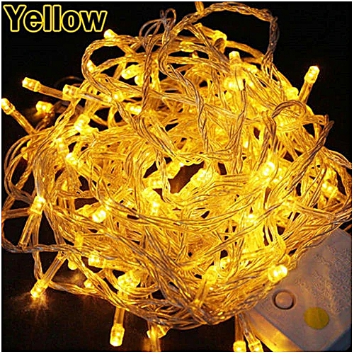 Christmas Lights Outdoor Decoration 10 Meter Droop100 Led Curtain Icicle String Lights New Year Wedding Party Garland Light Yellow