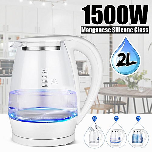 2L 1500W Electric Blue LED Illumination Water Tea Kettle 220V Glass Quick Boiler