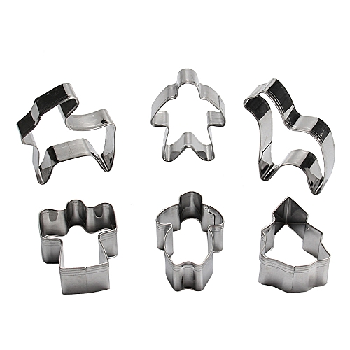 6 Pcs Packed Stainless Steel Cookie Dessert Animal Cutter DIY Mould Baking Tool-Silver