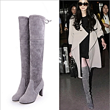 35dcc723dec4 Women Over Knee Suede Boots Sexy Elastic High Heel Shoes Size 35-43 Boots