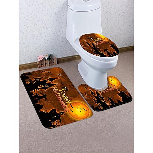 Halloween Castle Pattern 3 Pcs Bathroom Toilet Mat - Tiger Orange