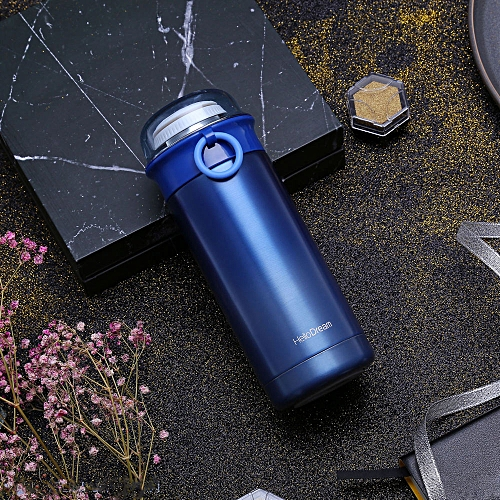 Sports Water Bottle Stainless Steel Gradient Transparent Cover Cup Insulated