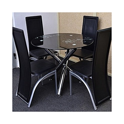 Round 4-Seater Glass Dining Set - Black (Lagos And Agbara Delivery Only)