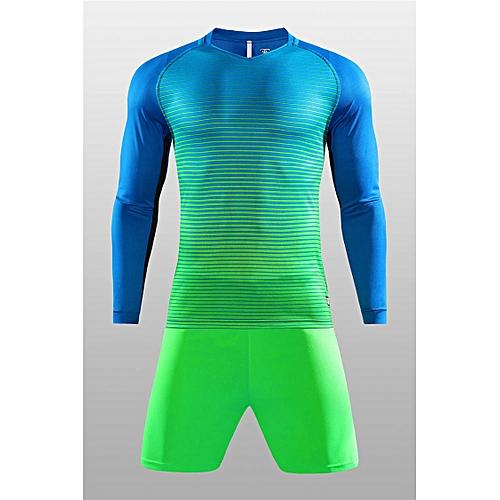 1c66c1dcc Generic Men Long Sleeve Soccer Jerseys Uniforms New Style V-neck Striped  Gradient-Blue