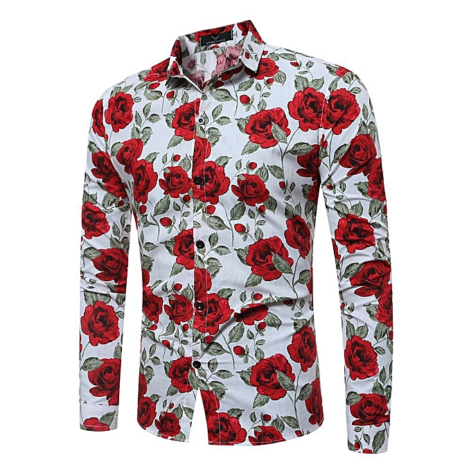 b53a47c03387 Men s Shirt Floral Printing Long Sleeve Shirts Men Clothes Flowers Printed  Shirts Vintage Linen Casual Male