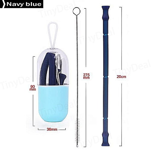 Foldable Silicone Straw Food-Grade Silicone Portable Travel Drinking Straws Blue