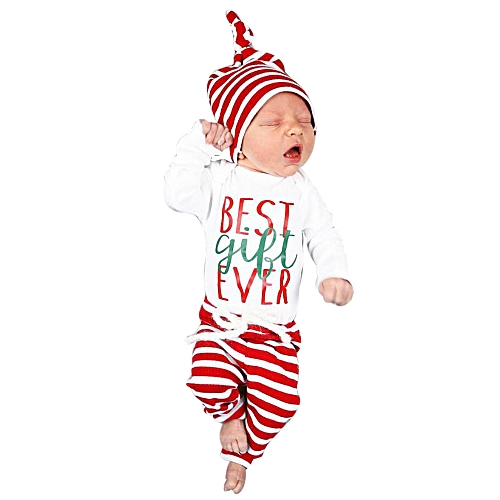 b02b15298240 Fashion Baby Outfit Newborn Infant Baby Boy Girl Romper Tops+Striped Pants+Hat  Christmas Outfits Set-White