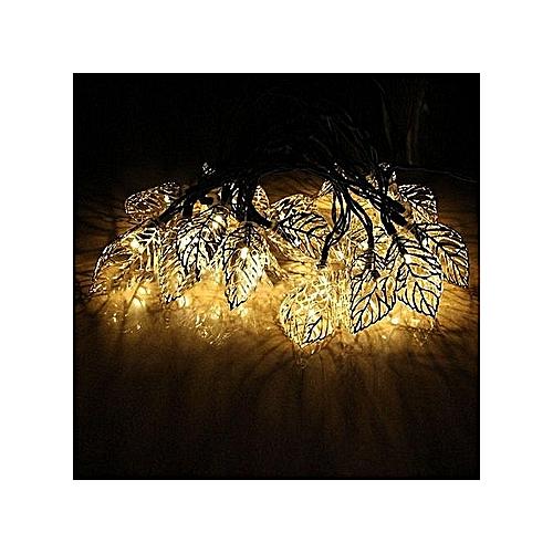 Solar Lights String 20LED Iron Leaves Christmas Decorations Garden Lights LED String Lights White
