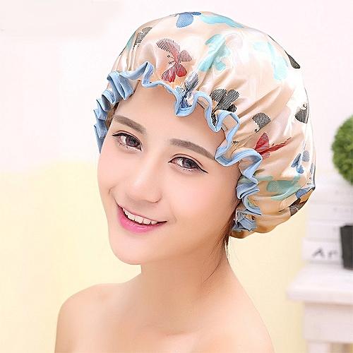 Double Layer Waterproof Shower Cap Elastic Bath Cap Butterfly Print Plastic Bathing Hair Cap Lady Salon Hat Color:Apricot