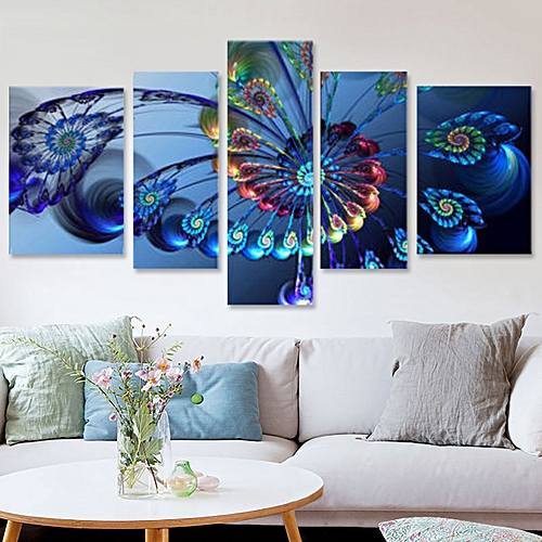 5Pcs Frame Modern Blue Peacock Canvas Print Art Painting Wall Picture Home Decor Unframed