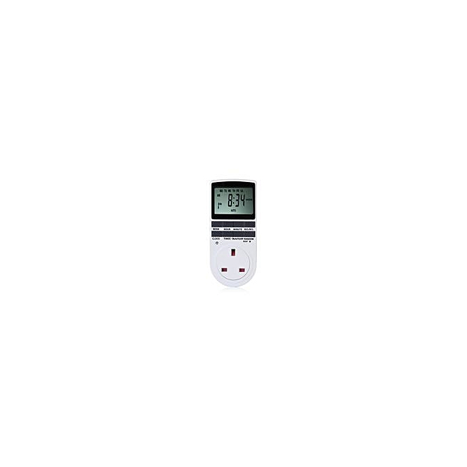 Programmable Timer Socket Switch UK Plug - WHITE