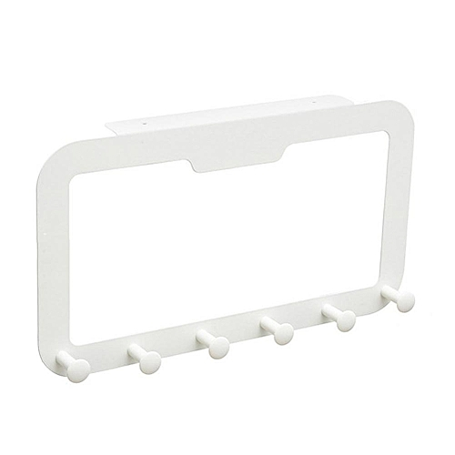 6 Hooks Back Door Hanger Rack Bathroom Kitchen Organizer Hanger Hooks Home Storage Rack Holder For Clothes Cabinet Draw Door