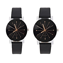 GE 1 Pair Of Couple Wrist Watch Casual PU Leather Round Dial Watchband (Black)